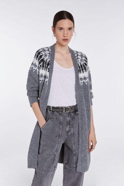 SET Knitted Coat - Grey White