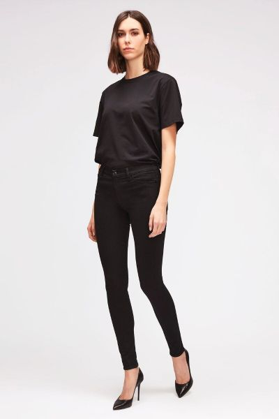 7 For All Mankind High Waist Skinny Slim Illusion Luxe Rinsed Black