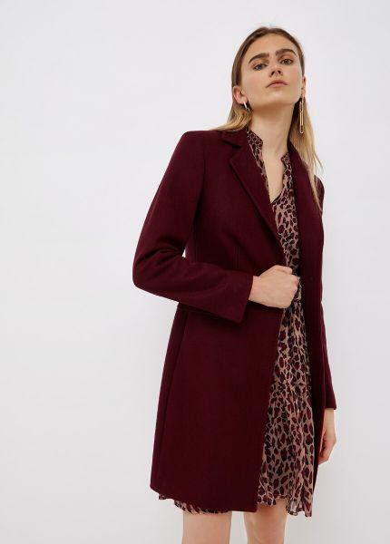 Liu Jo Coat With Jewel Brooch - Wine Red