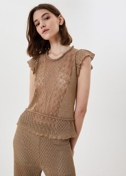 Liu Jo Top With Lace and Flounces in Lurex Gold