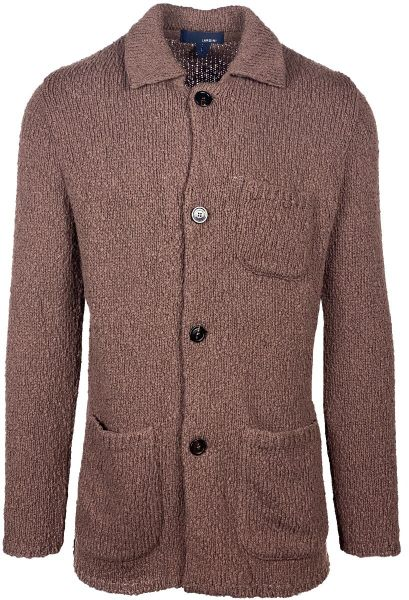 Lardini Knitted Cotton Cardigan - Mid Brown