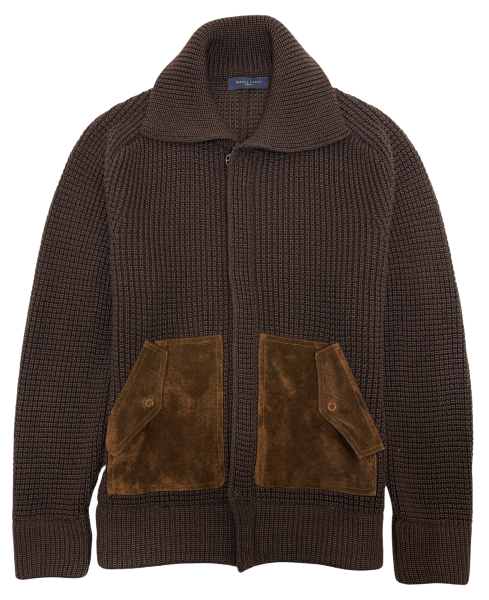 Daniele Fiesoli Knitted Cardigan with Leather Pockets - Brown