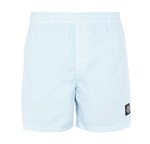 Stone Island Brushed Nylon Swimshorts - Light Blue