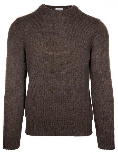 Cellini Italian Knitwear - Merino Wool Crewneck - Dark Brown