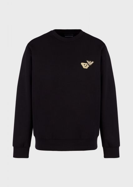 Emporio Armani Double Jersey Sweatshirt With Gold Emoji Patch - Black
