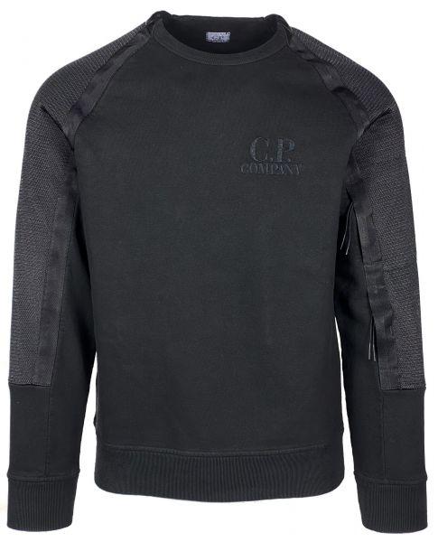 C.P. Company  Garmend Dyed Fleece J Mesh Mixed Logo Crew Neck  Sweater - Black