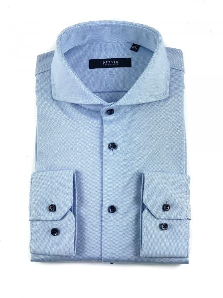 Desoto Luxury Jersey Cotton Shirt - Light Blue