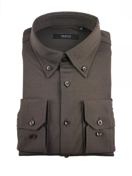 Desoto Luxury Jersey Cotton Shirt - Chocolate Brown