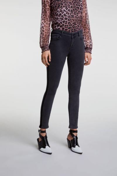 SET Skinny Jeans Met Velours Bies - Grijs