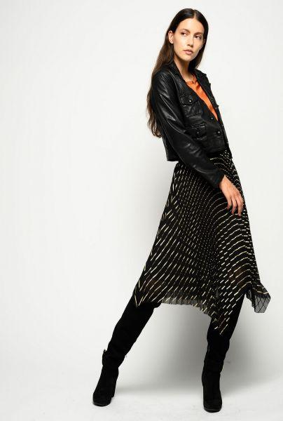 Pinko Plisse Laminated Stripe Skirt