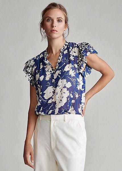 Ralph Lauren Crepe Floral Blouse- Royal Floral