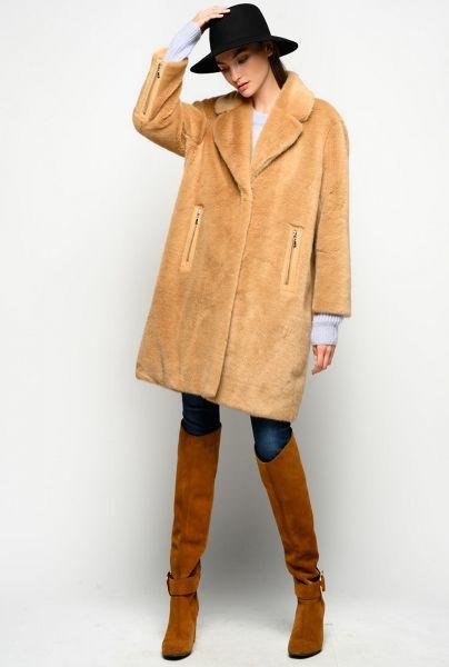 Pinko Faux Mink Overcoat - Camel