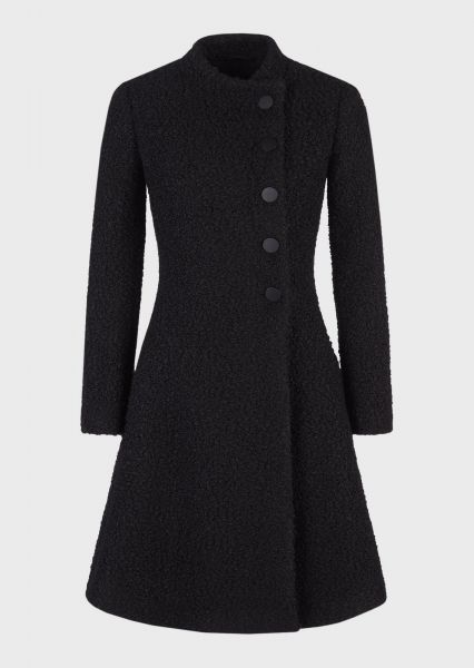 Emporio Armani Bouclé Coat Met Off-centre Sluiting - Zwart