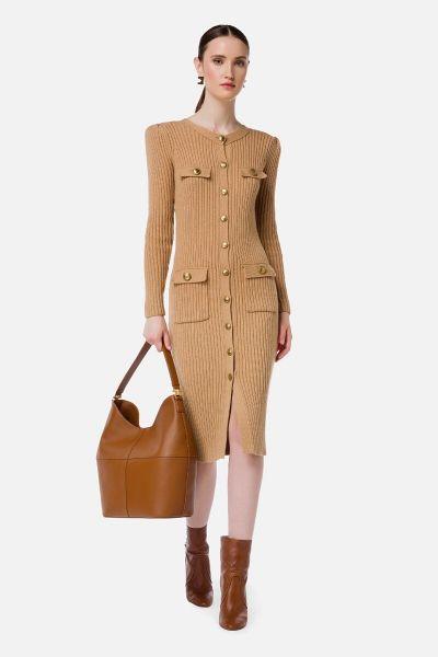 Elisabetta Franchi Rib Knitted Dress - Cammello