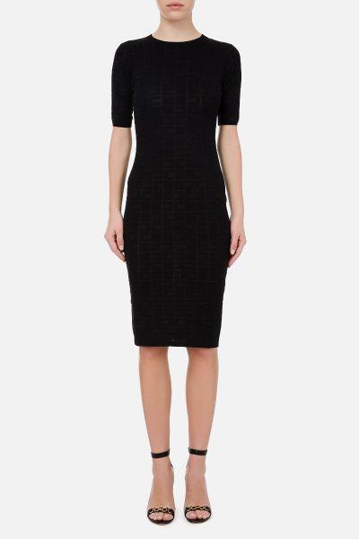 Elisabetta Franchi Knit Calf Length Dress With Logo
