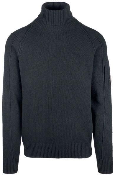 C.P. Company Lambswool Roll Neck Knit - Black