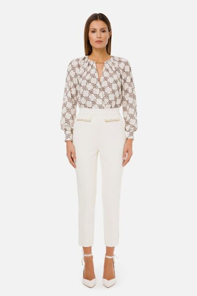Elisabetta Franchi Body Blouse With Horse Bit Print