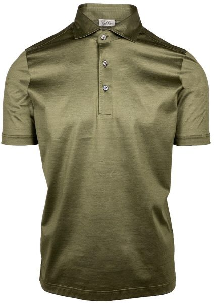 Cellini Jersey Cotton Polo - Olive Green