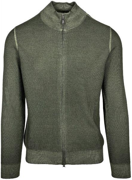 Cellini Virgin Wool Cardigan - Military Green
