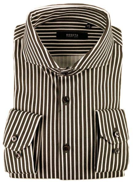 Desoto Luxury Hai Shirt - Brown Stripes