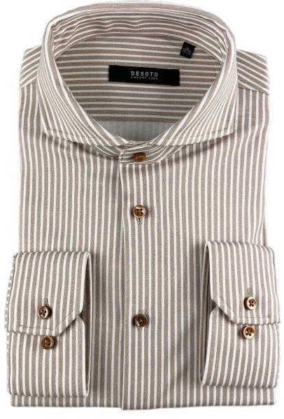 Desoto Luxury Hai Shirt - Beige Stripes