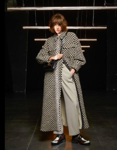 Emporio Armani Oversized  Coat With Damier Pattern