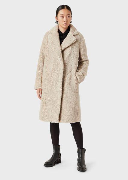 Emporio Armani Faux Fur Coat With Oversized Jacquard EA Logo