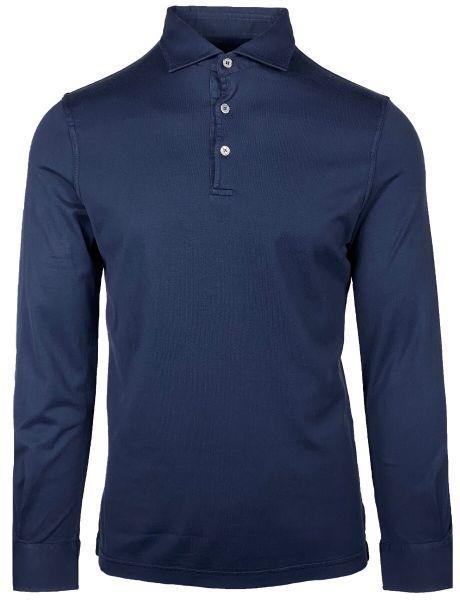 Fedeli Jersey Polo Long Sleeve - Dark Blue