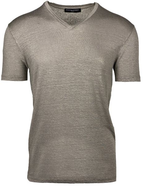 Daniele Fiesoli Stretch T-Shirt V-Neck - Taupe