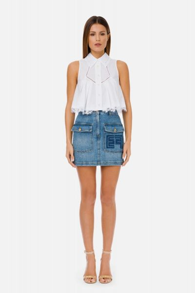 Elisabetta Franchi Denim Mini Skirt With Double Pockets - Blue