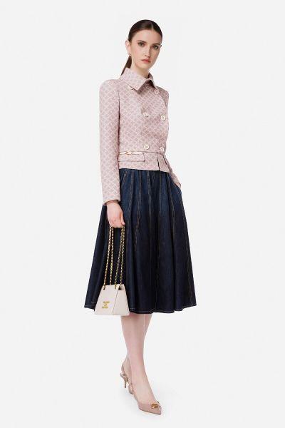 Elisabetta Franchi Pleated Denim Skirt With Gold Horse Bit
