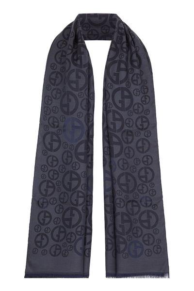 Giorgio Armani Viscose-Silk Scarf with Jacquard Logo - Navy Blue