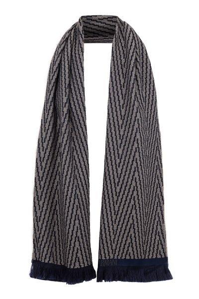 Giorgio Armani Scarf Wool - Grey/Navy Blue
