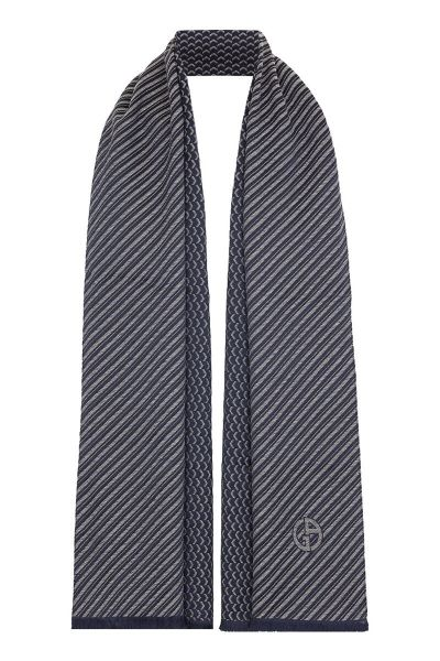 Giorgio Armani Scarf Striped - Blue-Grey