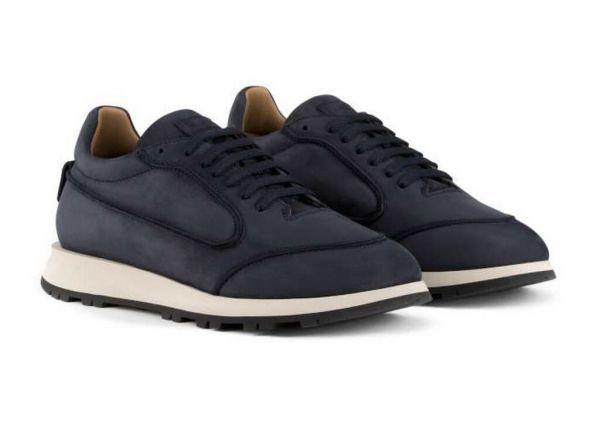 Giorgio Armani Tumbled Nubuck Sneakers - Midnight Blue