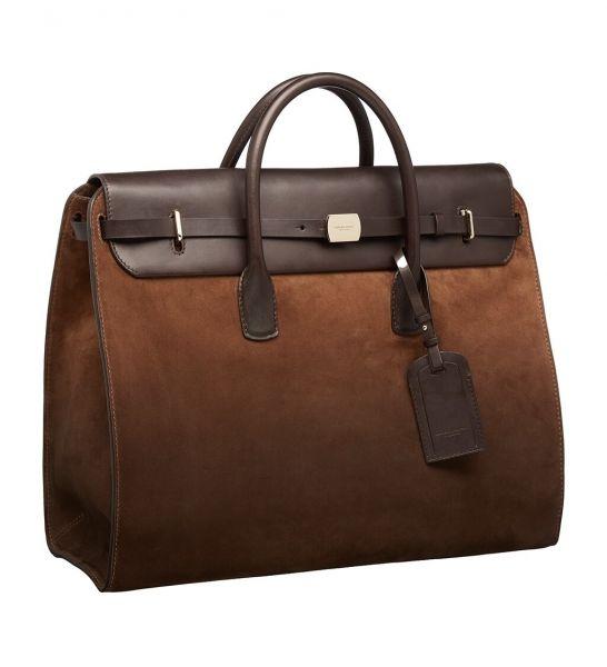 Giorgio Armani Airbrushed Suede Weekend Bag - Brown