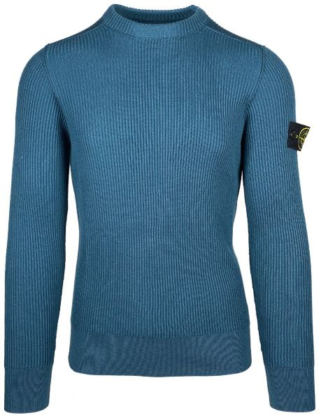 Stone Island Ribbed Knitted Sweater - Petrol Blue
