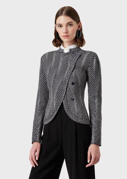 Emporio Armani Jacket In Op-Art Patterned Jacquard - Black