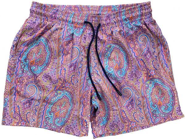 Etro Swimshort Paisley Print - Purple
