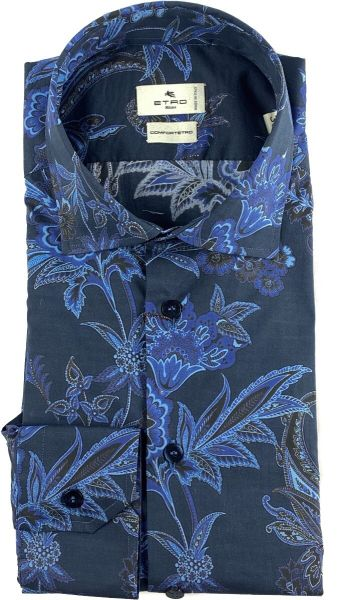Etro Shirt Flower Print - Dark Blue