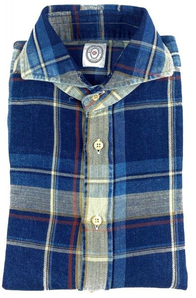 Bolzonella Shirt Check Pattern Shirt- Blue