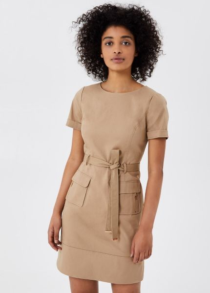 Liu Jo Gabardine Stretch Dress With Belt - Macadamia