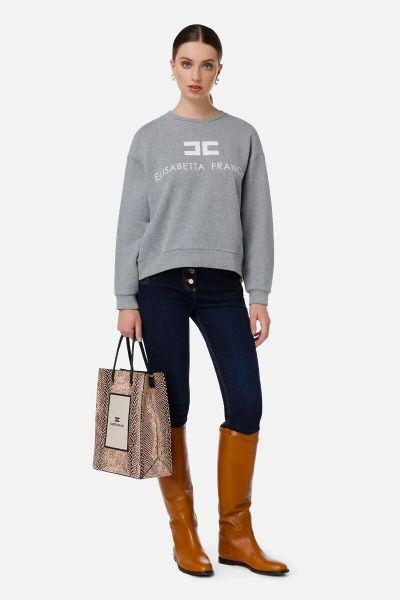 Elisabetta Franchi Sweatshirt With Logo - Heather Grey