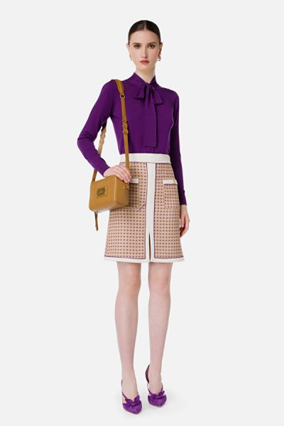 Elisabetta Franchi Knitted Cardigan With Bow - Mosto