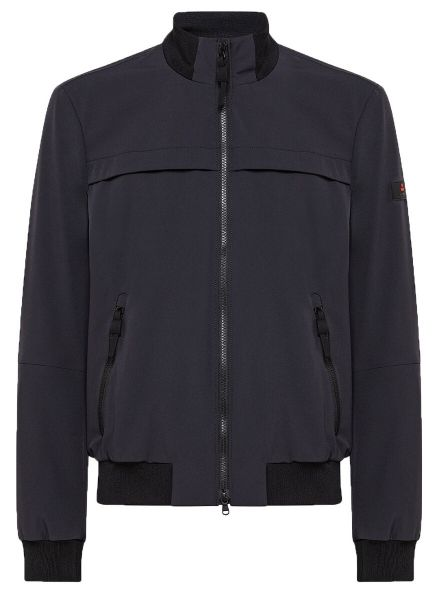 Peuterey Smooth Bomber Jacket In Stretch Fabric - Graphite Blue