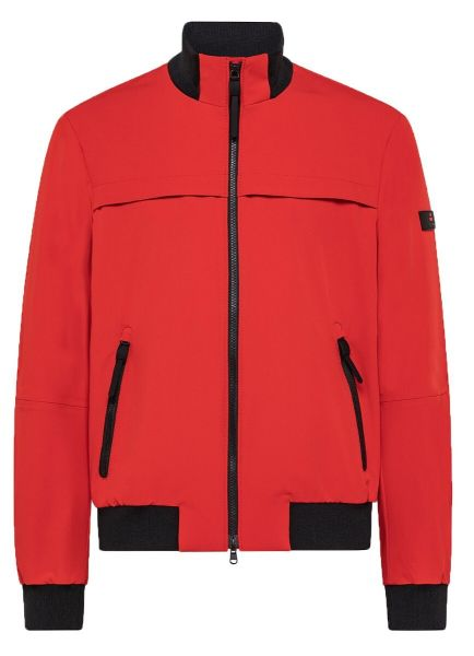 Peuterey Smooth Bomber Jacket In Stretch Fabric - Bright Red
