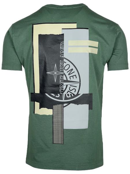 Stone Island Mixed Media Two' Print T-Shirt - Green