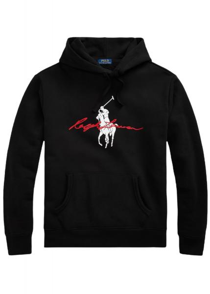 Ralph Lauren Big Pony Logo Fleece Hoodie - Black