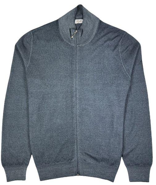 Cellini Wool Zip Cardigan - Grey Blue