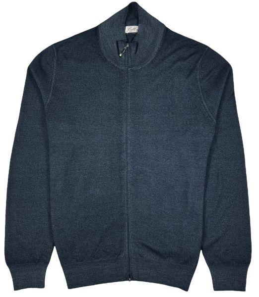 Cellini Wool Zip Cardigan - Mid Blue